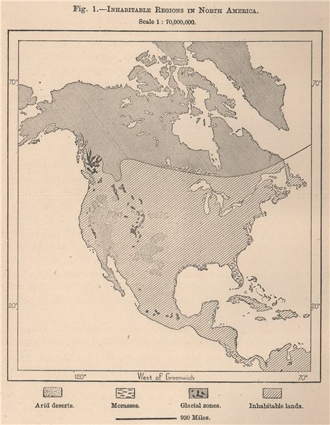 Associate Product Inhabitable regions in North America 1885 old antique vintage map plan chart