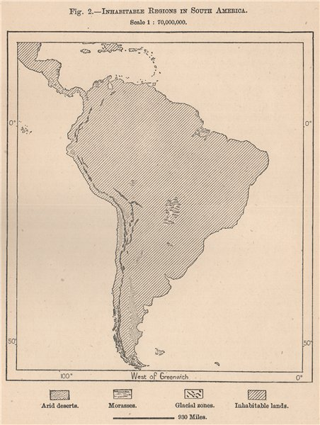 Associate Product Inhabitable regions in South America 1885 old antique vintage map plan chart