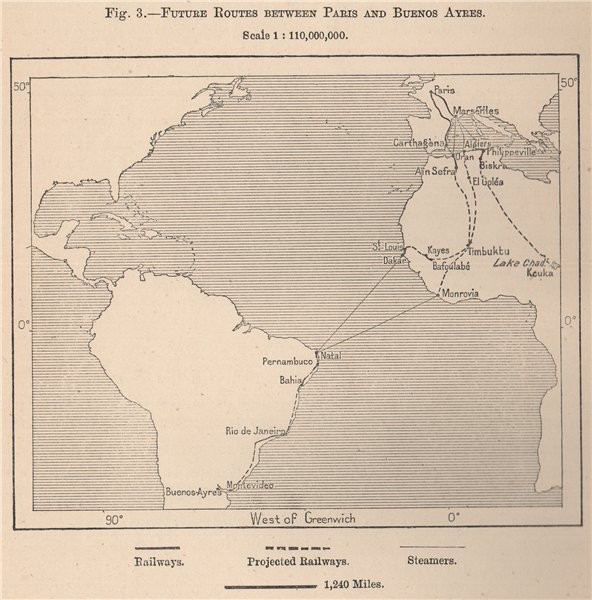 Associate Product Future routes between Paris and Buenos Aires across Africa 1885 old map