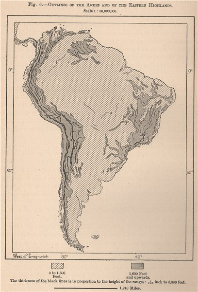 Associate Product Outlines of the Andes and of the Eastern Highlands. South America 1885 old map