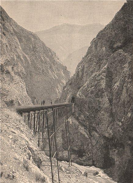 Associate Product Andes Scenery. Puente Chaupichaca Bridge, Lima-La Oroya Railway. Peru 1885