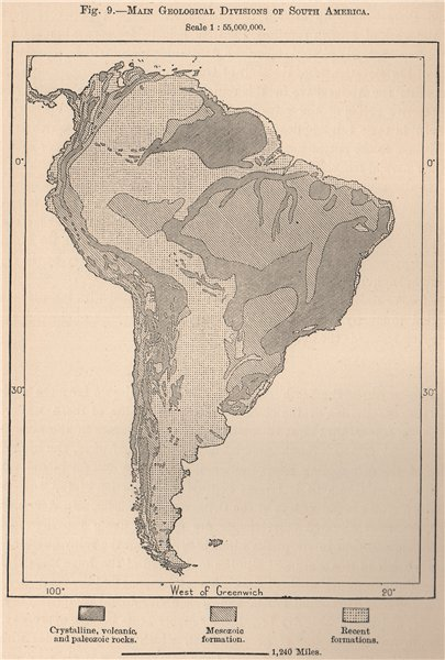 Associate Product Main Geological divisions of South America 1885 old antique map plan chart