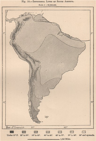 Associate Product Isothermal lines of South America 1885 old antique vintage map plan chart