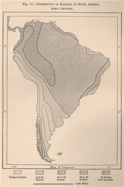 Associate Product Distribution of Rainfall in South America 1885 old antique map plan chart