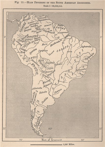 Associate Product Main divisions of the South American Aborigines 1885 old antique map chart