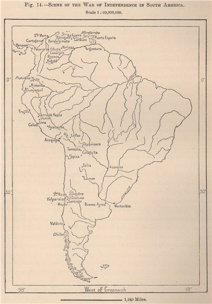 Associate Product Scene of the war of independence in South America 1885 old antique map chart