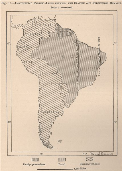Associate Product South America continental parting between Spanish & Portuguese domains 1885 map