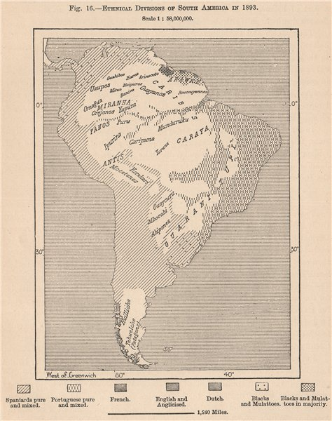 Associate Product Ethnical divisions of South America in 1893 1885 old antique map plan chart
