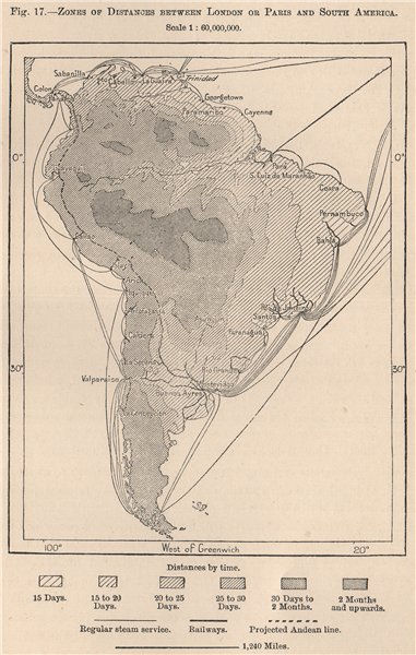 Associate Product Zones of distances between London or Paris and South America 1885 old map