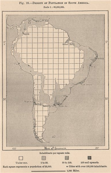 Associate Product Density of population in South America 1885 old antique vintage map plan chart