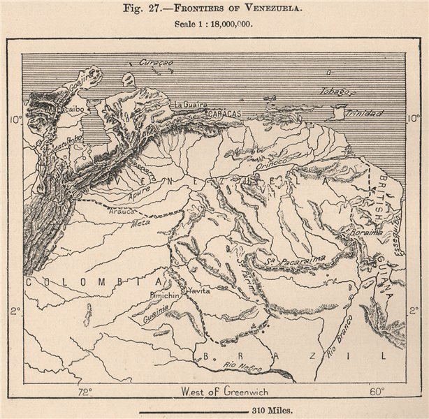 Associate Product Frontiers of Venezuela 1885 old antique vintage map plan chart