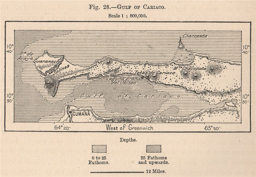 Associate Product Gulf of Cariaco. Venezuela 1885 old antique vintage map plan chart