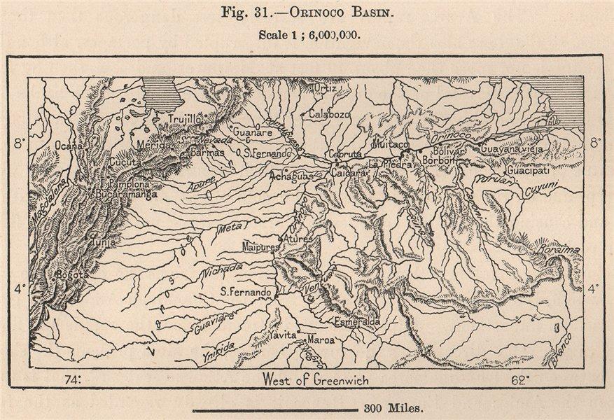 Associate Product Orinoco Basin. Venezuela 1885 old antique vintage map plan chart