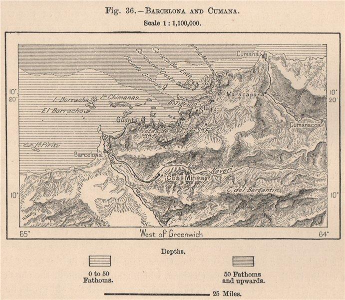 Associate Product Barcelona and Cumana. Venezuela 1885 old antique vintage map plan chart