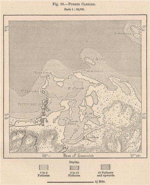 Associate Product Puerto Cabello. Venezuela 1885 old antique vintage map plan chart