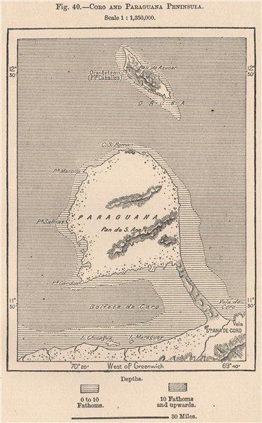 Associate Product Santa Ana de Coro and Paraguana Peninsula. Venezuela 1885 old antique map