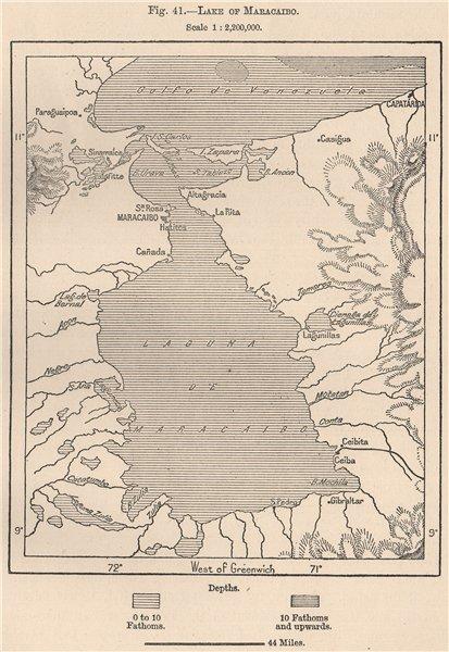 Associate Product Lake of/Lago de Maracaibo. Venezuela 1885 old antique vintage map plan chart