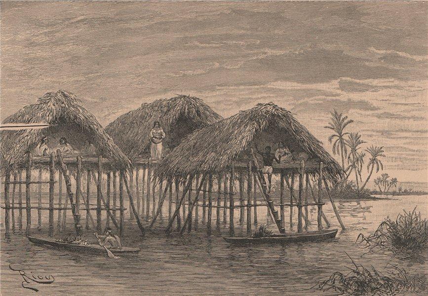 Associate Product Lake Dwellings of Santa Rosa, near Maracaibo. Venezuela 1885 old antique print