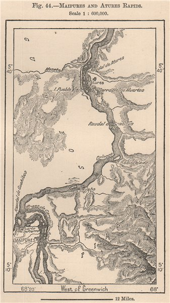 Associate Product Maipures and Atures rapids. Venezuela 1885 old antique vintage map plan chart