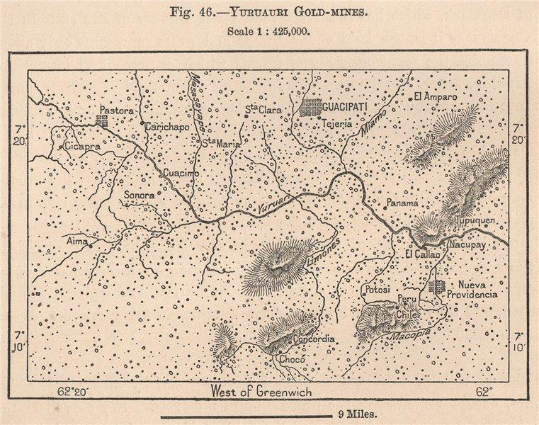Associate Product Yuruauri gold-mines. Guacipati. Venezuela 1885 antique map plan chart