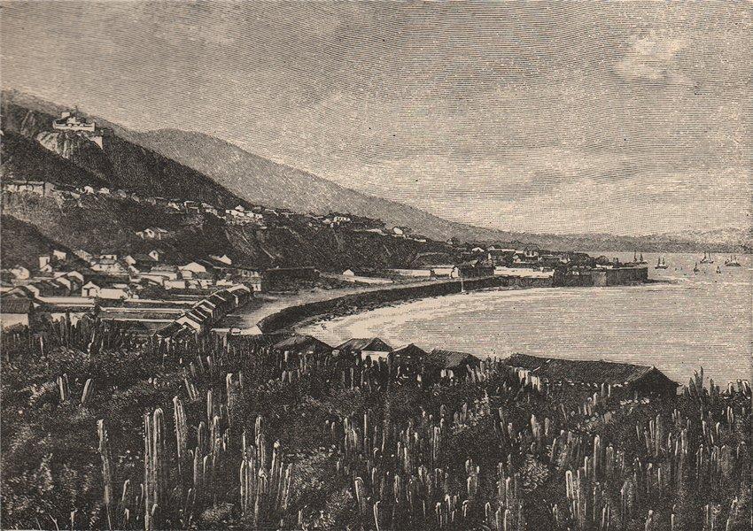 Associate Product La Guaira; view taken at Carvonal. Vargas, Venezuela 1885 old antique print