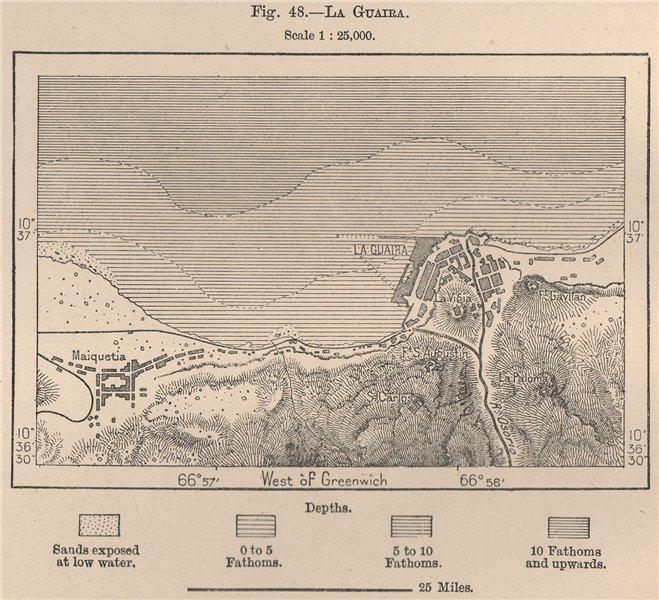 Associate Product La Guaira. Venezuela 1885 old antique vintage map plan chart