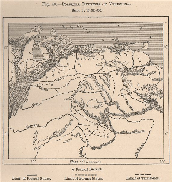 Associate Product Political divisions of Venezuela 1885 old antique vintage map plan chart
