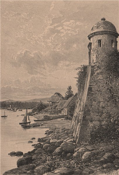 Old Spanish fortifications at Portobelo, Colón Province, Panama 1885 print