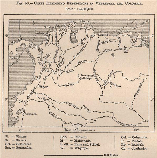 Associate Product Chief exploring expeditions in Venezuela & Colombia. Explorers 1885 old map
