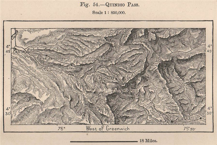Associate Product Quindio pass. Cartago-Ibague. Tolima. Colombia 1885 old antique map plan chart