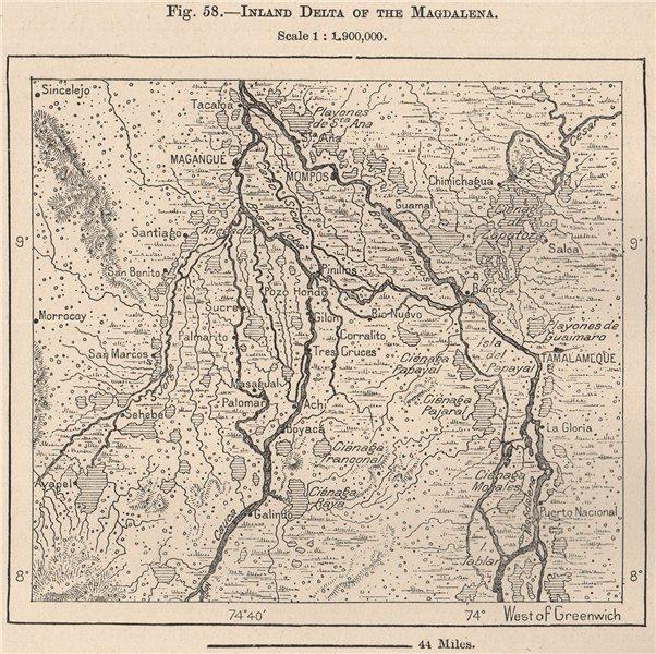 La Mojana. Magdalena inland delta. Magangue El Banco. Colombia 1885 old map