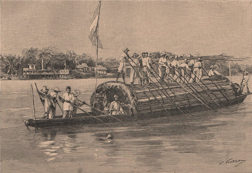 Bongo on the Rio Magdalena. Colombia 1885 old antique vintage print picture