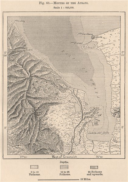 Associate Product Mouths of the Atrato. Gulf of Uraba. Turbo. Colombia 1885 old antique map