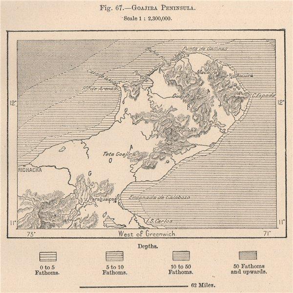 Associate Product Goajira/Goajira Peninsula. Macuira. Riohacha. Colombia 1885 old antique map