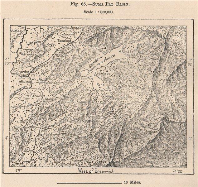 Associate Product Sumapaz Basin. Sumapaz Paramo. Colombia 1885 old antique plan chart