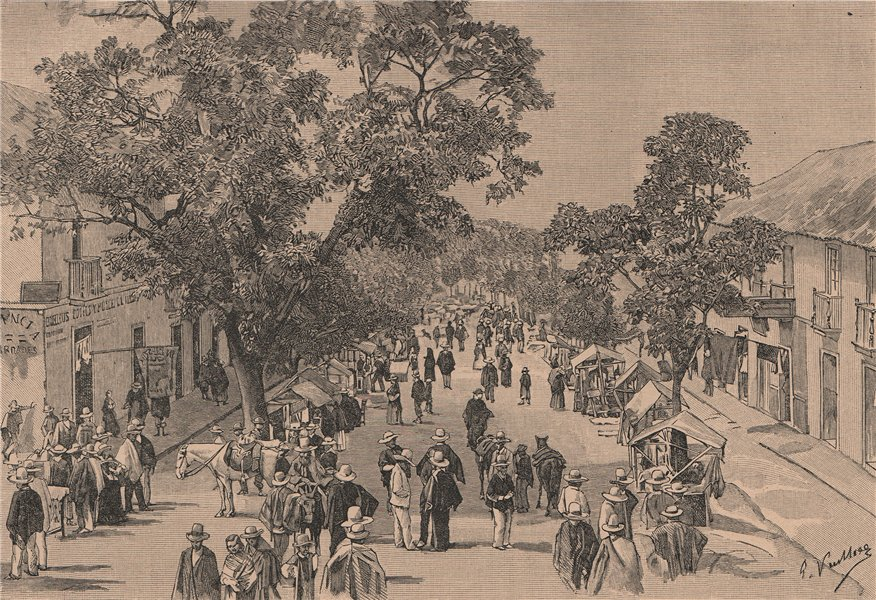 Street view, La Mesa, Cundinamarca, Colombia 1885 old antique print picture