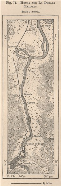 Associate Product Honda and la Dorada Railway. Rio Magdalena. Colombia 1885 old antique map