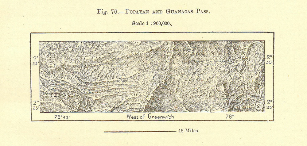Associate Product Popayan and Guanacas pass. Colombia 1885 old antique vintage map plan chart