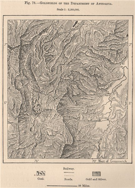 Associate Product Goldfields of the department of Antioquia. Colombia 1885 antique map chart
