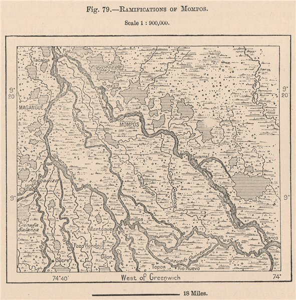 Associate Product Ramifications of Mompos (Santa Cruz de Mompox) Colombia 1885 old antique map