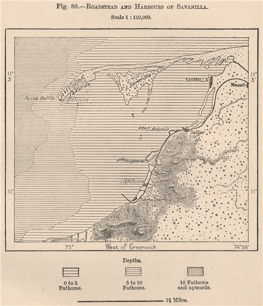 Associate Product Roadstead and harbours of Sabanilla. Puerto Colombia, Colombia 1885 old map