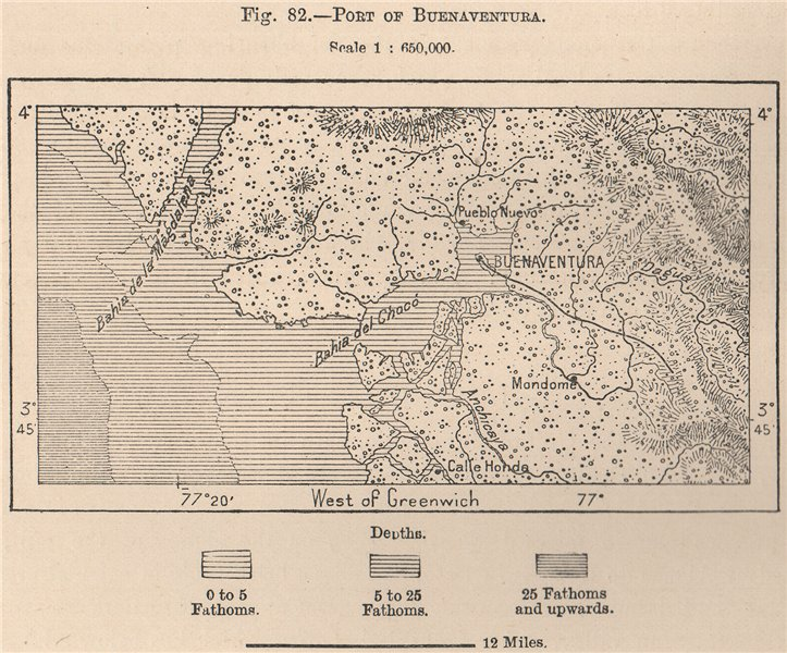 Associate Product Port of Buenaventura. Colombia 1885 old antique vintage map plan chart