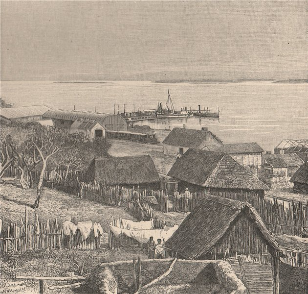 Associate Product Landing stage at Salgar, Sabanilla, Puerto Colombia. Colombia 1885 old print