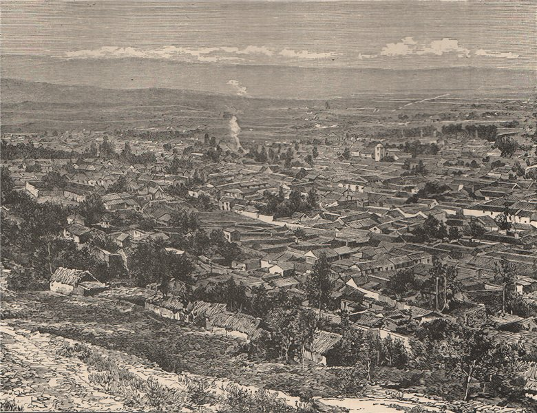Associate Product Panoramic view of Bogota; taken from the East. Colombia 1885 old antique print