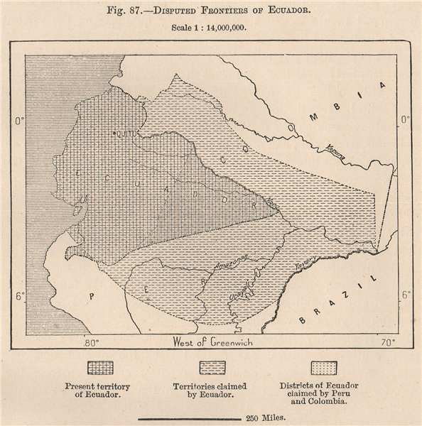 Associate Product Disputed frontiers of Ecuador 1885 old antique vintage map plan chart