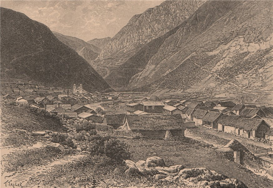 Pueblo de San Mateo, East of Lima. Peru 1885 old antique vintage print picture