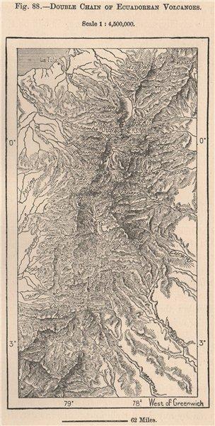 Associate Product Double chain of Ecuadorean Volcanoes 1885 old antique vintage map plan chart