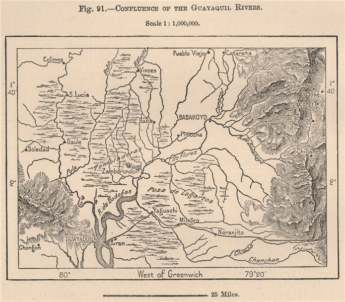 Associate Product Confluence of the Guayaquil Rivers. Guayas Los Rios. Ecuador 1885 old map
