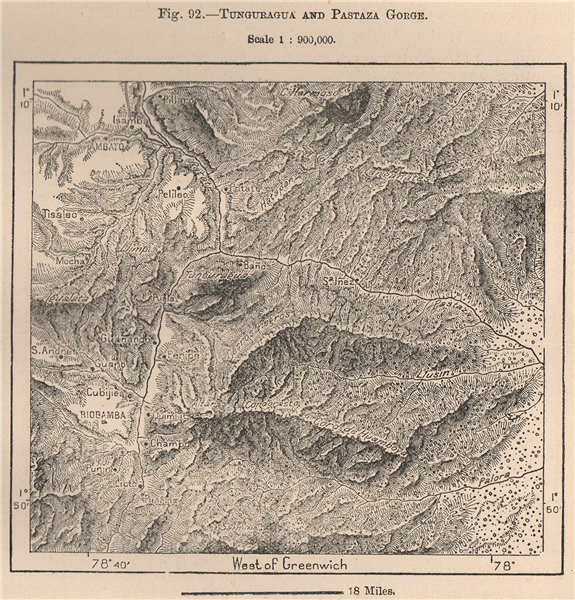 Associate Product Tunguraghua and Pastaza Gorge. Ecuador 1885 old antique vintage map plan chart