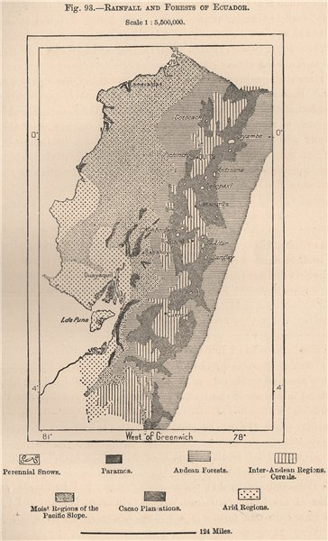 Associate Product Rainfall and Forests of Ecuador 1885 old antique vintage map plan chart